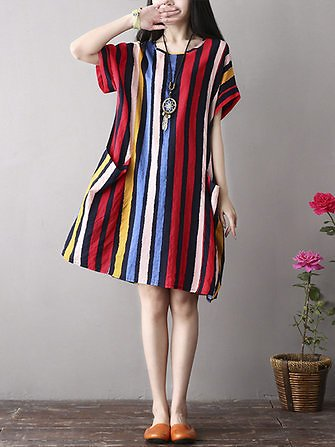 US$22.85 48% M-5XL Vintage Women Color Stripe Side Pockets Short Sleeve Dress Women's Clothing from Clothing and Apparel on Banggood.com