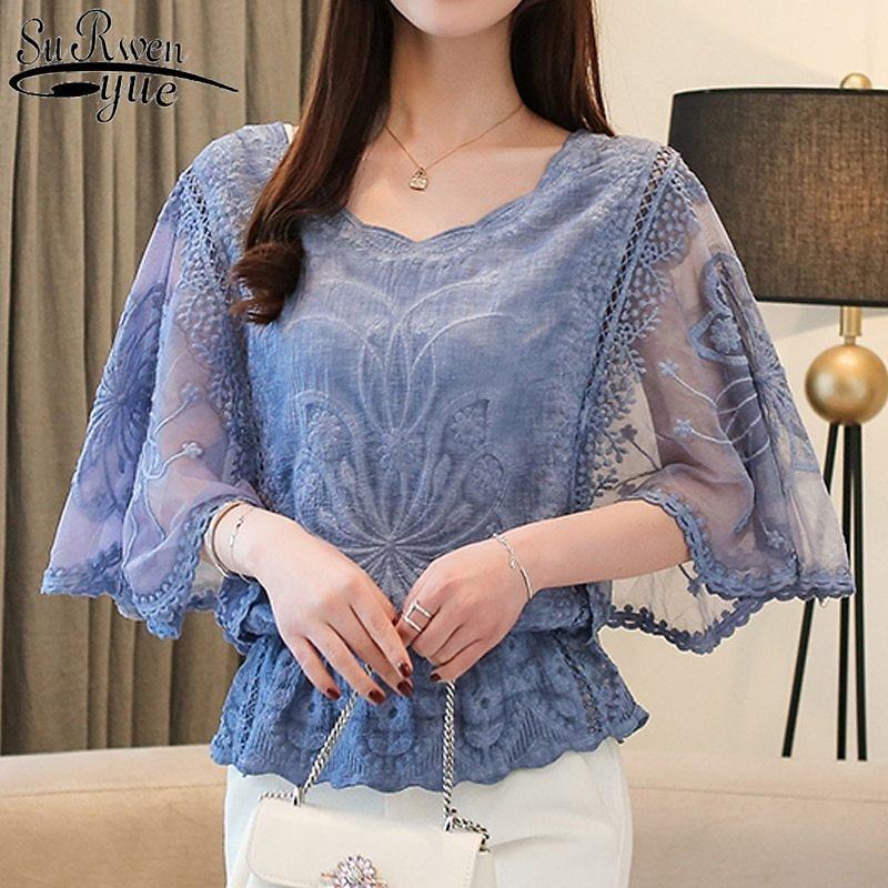 US $10.57 35% OFF fashion Woman Blouses 2019 Summer New Chiffon Blouse Cotton Edge Lace Blouses Shirt Butterfly Flowe Women Shirt Tops 4073 50-in Blouses & Shirts from Women's Clothing On Aliexpress.com   Alibaba Group