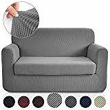 Deconovo Jacquard Stretch Grey Couch Cover for Dogs Small Checks Pattern Anti-Slip Sofa Cover for 2 Cushion Couch Grey Loveseat: Home & Kitchen