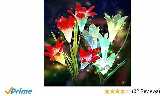 Solar Garden Lights Outdoor, Elfeland Multi-Color Lily Solar Flower Lights Upgraded LED Solar Stake Lights for Path Yard Patio Backyard Decoration(2 Pack,Red and White)