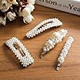 OUTERDO Pearls Hair Clips 4pcs for Women and Girls Gold Hair Barrette Pins for Girls Snap Hair Clips for Wedding, Party and Daily Wearing Decorative Hair Accessories Hairpins for Ladies Birthday Gift : Beauty