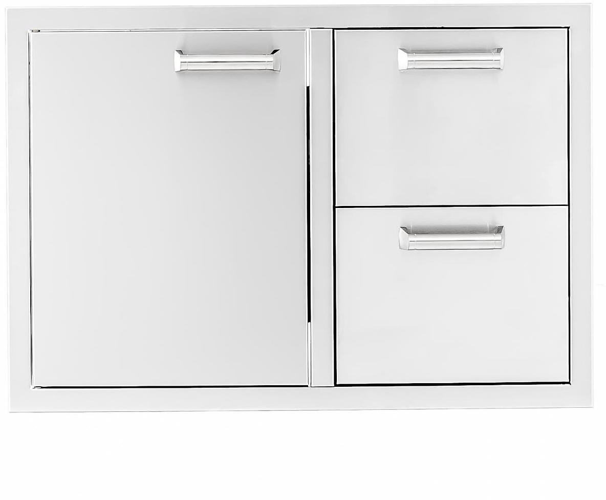 BBQGuys Sonoma Series 30-Inch Stainless Steel Left-Hinged Access Door & Double Drawer Combo