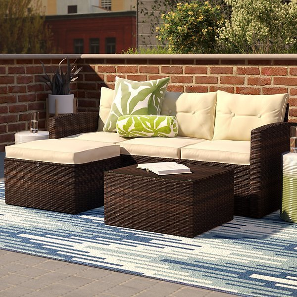 Arlington 3 Piece Rattan Sectional Seating Group with Cushions