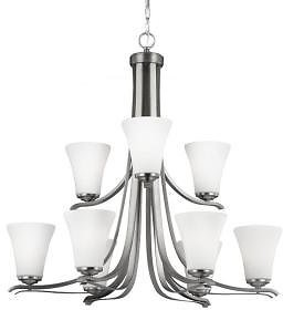 40% off Feiss Summerdale 9-Light Satin Nickel Multi-Tier Chandelier Shade-F2980/9SN