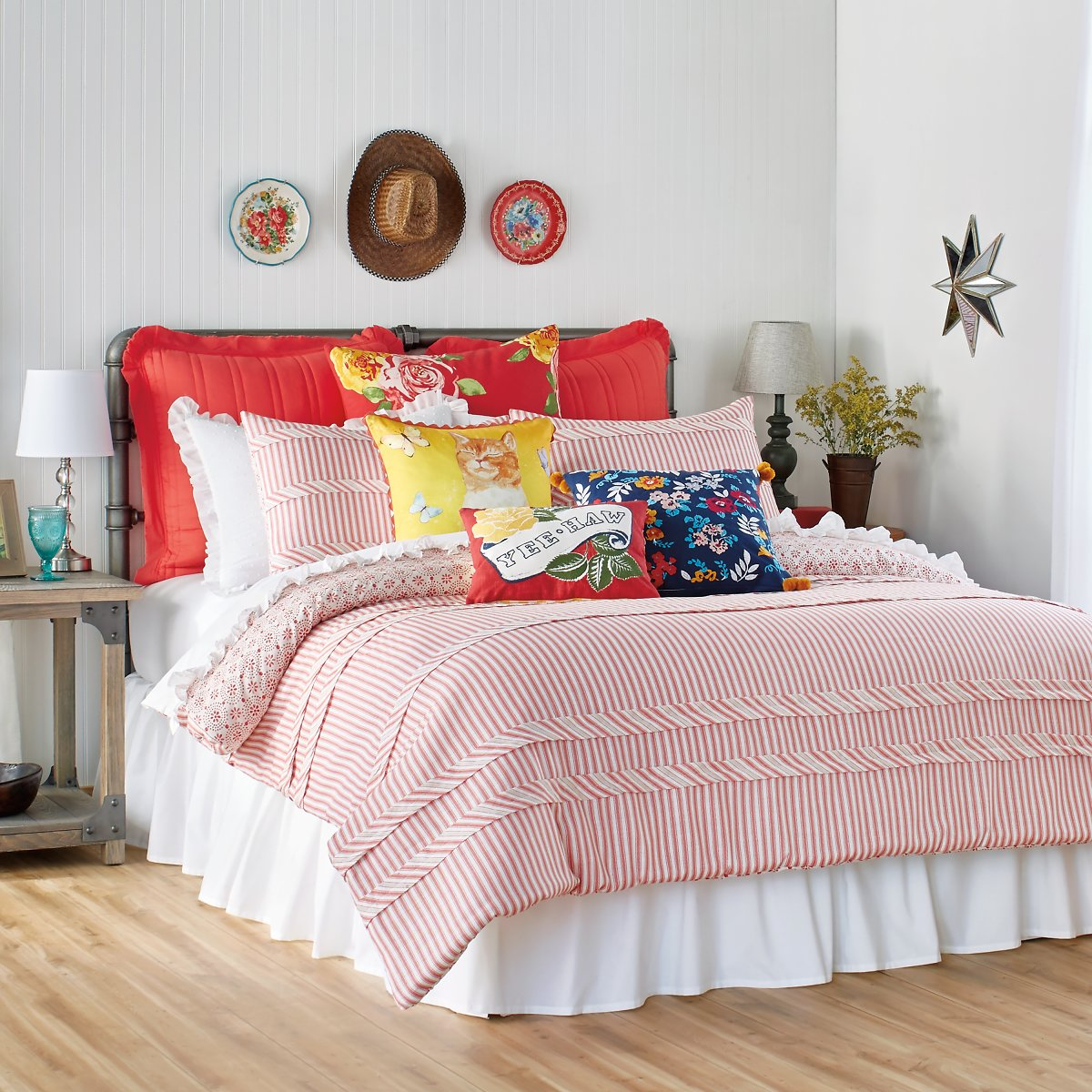 The Pioneer Woman Ticking Stripe Comforter in Red