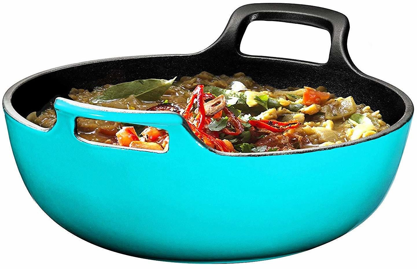 Enameled Cast Iron Balti Dish With Wide Loop Handles, 3 Quart, Turquoise