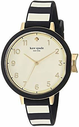 Kate Spade New York Women's Park Row Stainless Steel Analog-Quartz Watch with Silicone Strap, Black, 12