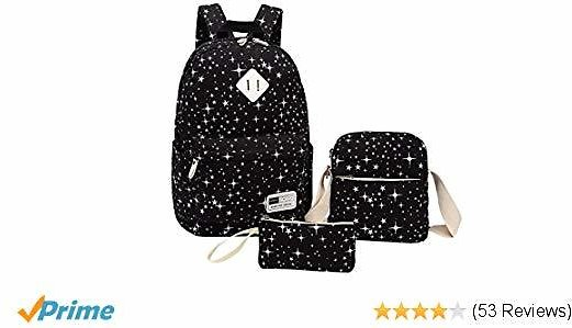 Canvas Backpack, Aiduy Student Backpack Bookbags Lightweight Laptop Backpack with Sling Bag and Pencil Bag for Teens Girls Women (Black)