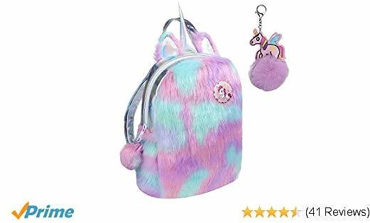 Alpacasso Cute Plush Unicorn Backpack, Soft Plush Rainbow Backbag Mini Unicorn Backpack for Girls Toddler Backpack.