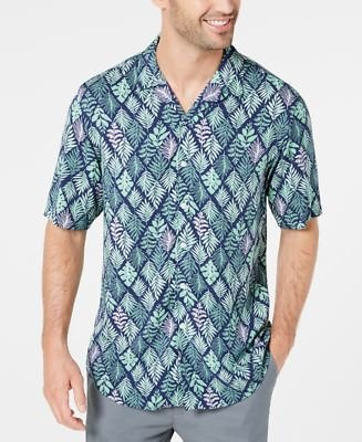 Club Room Men's Diamond Leaf-Print Camp Collar Shirt, Created for Macy's & Reviews - Casual Button-Down Shirts - Men