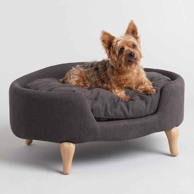 Charcoal Gray Upholstered Lola Pet Bed with Wood Legs