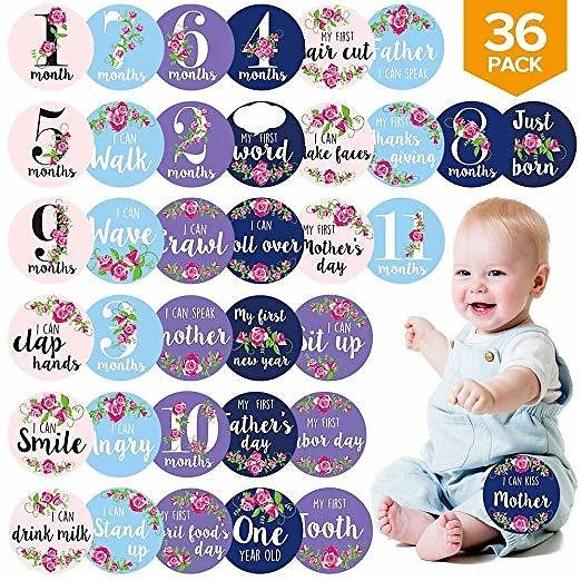 Baby Monthly Stickers, 36 Pack Floral Baby Milestone Stickers for Newborn Girls& Boys, Perfect Infant Shower Gifts