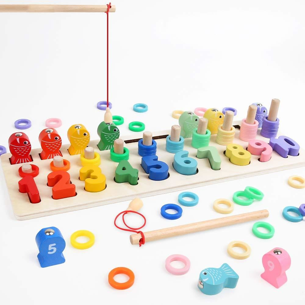 Kids Toddlers Leanring Wood Sorting Puzzles Toys with Sorter Number and Math