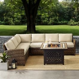 Bradenton 5-Piece Outdoor Wicker Seating Set With Sand Cushions - Right Corner Loveseat, Left Corner Loveseat, Corner Chair, Center Chair, Fire Table - Crosley KO70158-SA