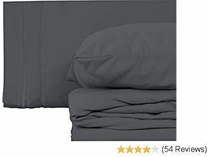Style Basics Super Soft Brushed Microfiber Bed Sheet Set - 1800 Series Easy-Clean (Slate, California King)