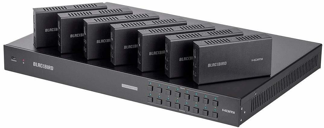 Monoprice Blackbird 4K 8x8 HDBaseT Matrix with 7 Receivers, 70m, IR, SPDIF, RCA, TCP/IP, RS232, EDID, HDCP 2.2