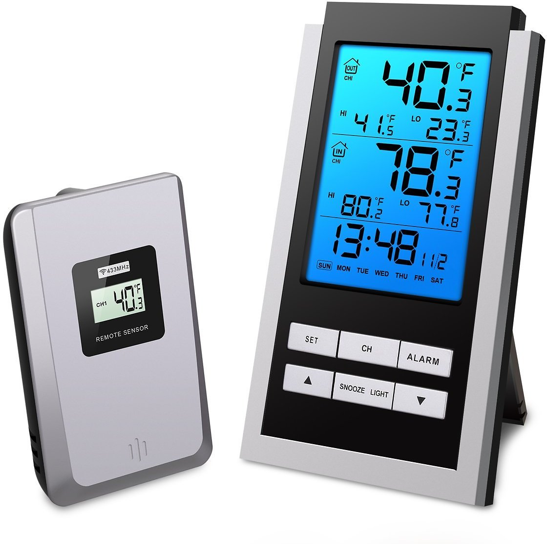 ORIA Indoor Outdoor Thermometer, Digital Wireless Temperature Monitor, LCD Screen Remote Thermometer, ℃ and ℉ Switch, with Alarm Clock and Snooze Function for Home, Office (Battery Not Included)
