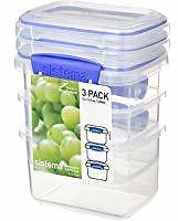 3 Pk Sistema 1.70 Cup Food Storage Container Blue
