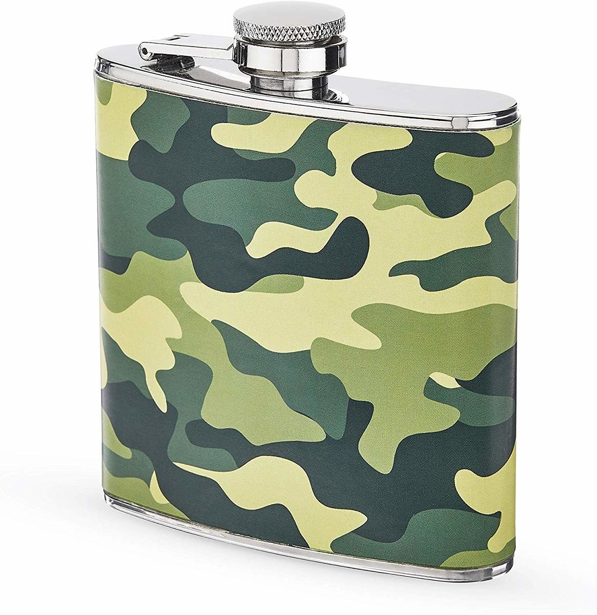 Foster and Rye Camo Flask in Stainless Steel and Fauz Leather