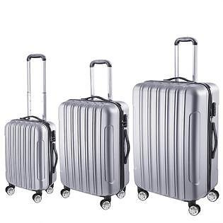 AplusBuy AplusBuy ABS 3pcs 20 24 28 In. Spinner Traveling Luggage Rolling Case Coded Lock Silver
