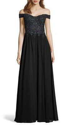 Blondie Nites Off The Shoulder Beaded Applique Bodice Chiffon Gown