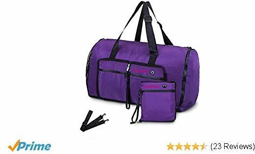 Msicyness Sports Duffle Bag 70L Overnight Bag Large Travel Duffel Tote for Men and Women Waterproof Carry On Weekender Bags with Shoe Compartment (Purple)