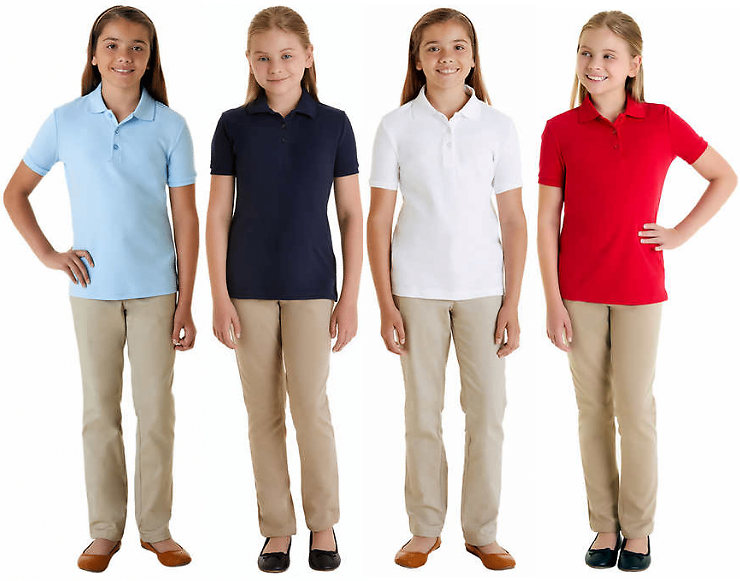 (Ships Free) 2-Pack French Toast Girls' School Uniform Polos - 4 Colors