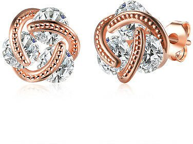 (Ships Free) 14K Rose Gold Love Knot Stud Earrings with Swarovski Crystals Made in ITALY