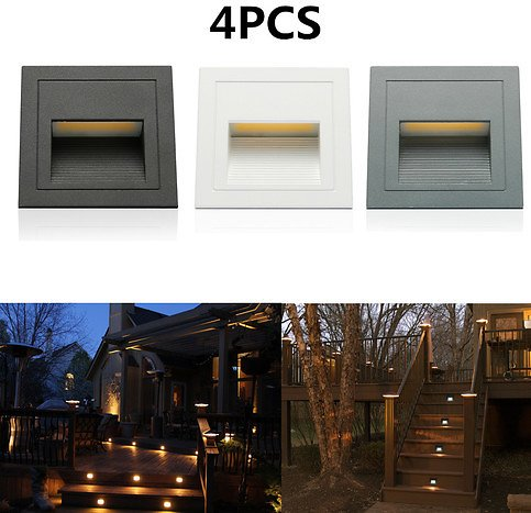 Outdoor Wall Plinth Recessed Stair Step Hall Lamp Corner Deck Lights