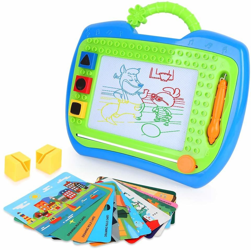 LBLA Magnetic Drawing Board Colors Writing Painting Sketching Doodle Board with 3 Stamps 12 Cards Creative Toys for Kids Toddlers Boys Girls