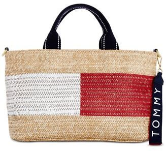Tommy Hilfiger Teah Flag Straw Satchel, Created for Macy's & Reviews - Handbags & Accessories