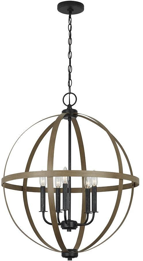 26% off Calhoun 24 In. W 5-Light Weathered Gray Rustic Farmhouse Orb Chandelier