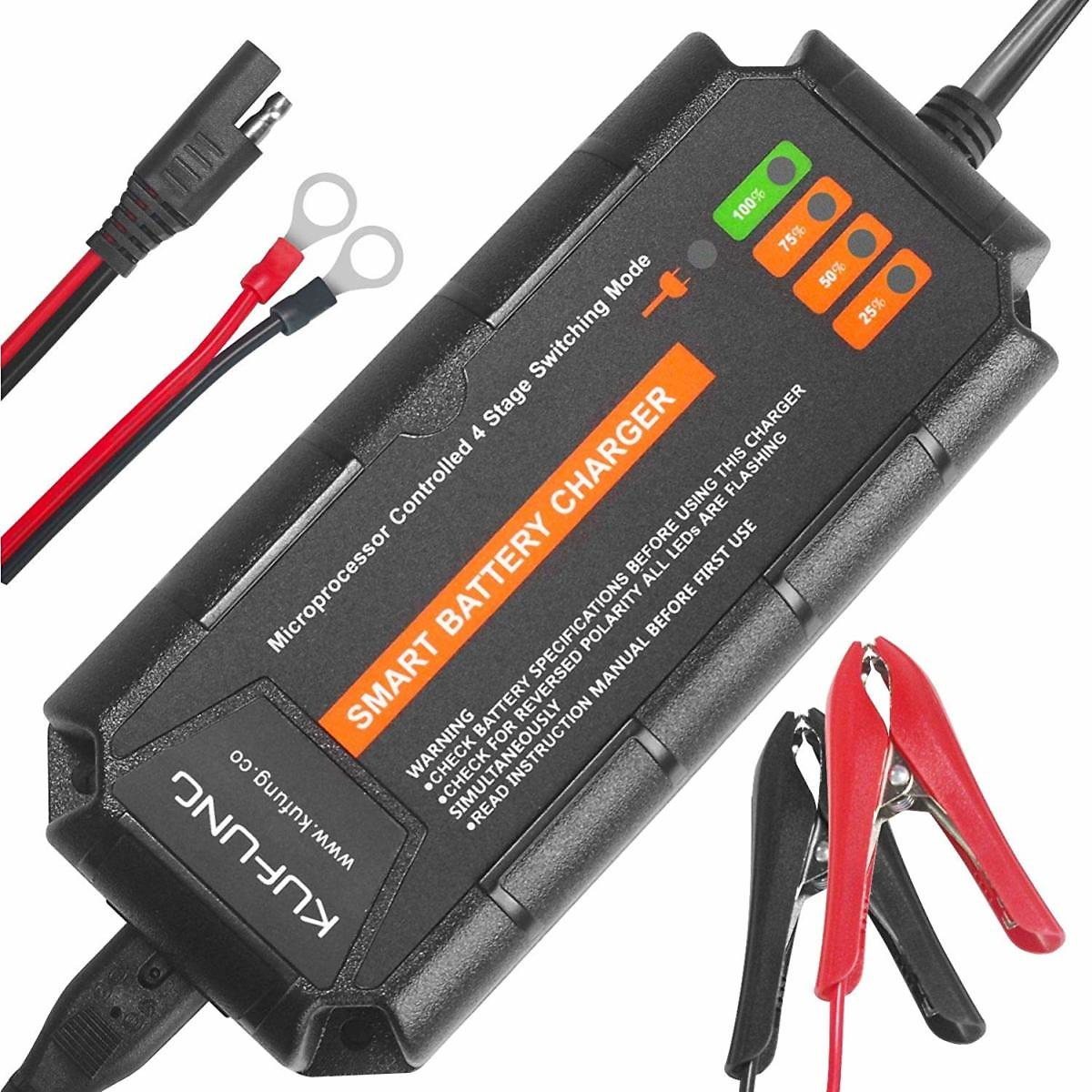 KUFUNG Fully Automatic Smart Battery Charger Maintainer Rescure for All Types Lead Acid Batteries of Car, Motorcycle, Boat - Bat