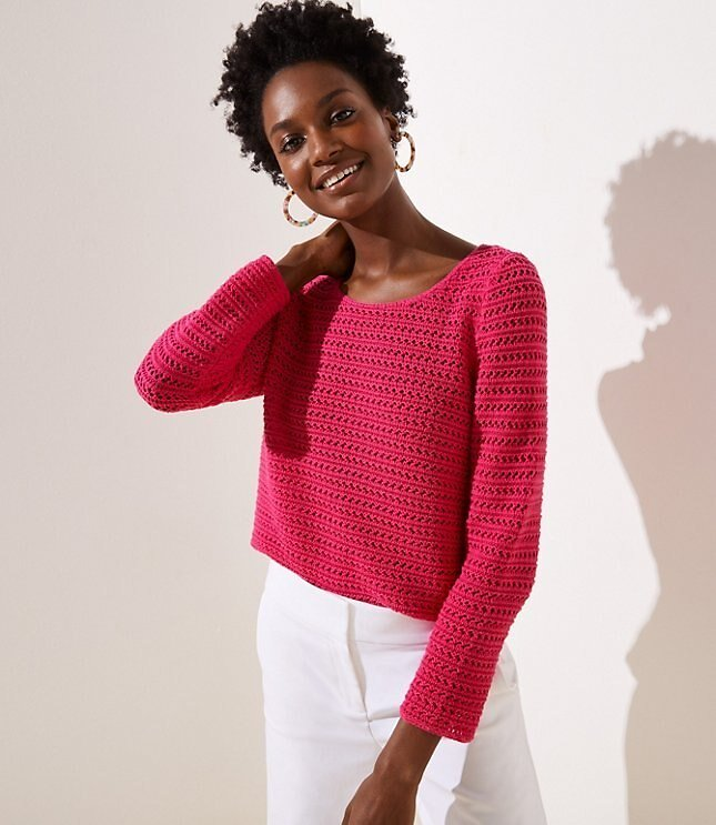 Now 40% Off - Striped Open Stitch Sweater