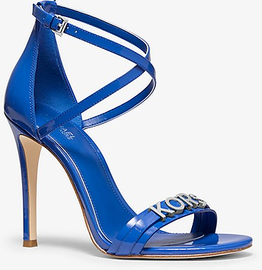 Now 56% Off - Michael Kors Goldie Patent Leather Sandal - Grecian Blue
