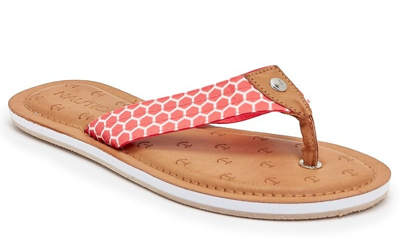 Now 80% Off - Womens Canvas Print Thong Sandals