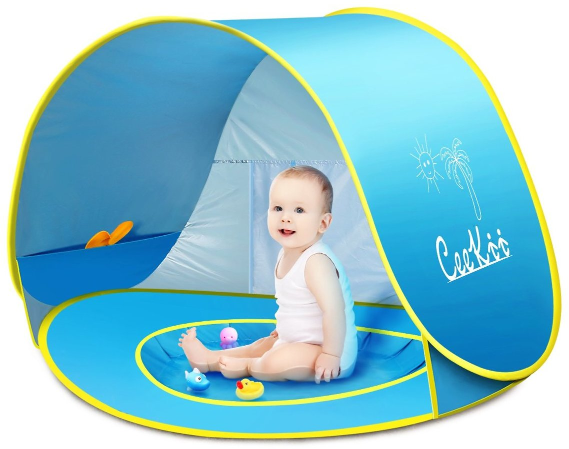 CeeKii Baby Beach Tent Pop Up Tent Portable Shade Pool UV Protection Sun Shelter with Mini Pool, Carry Bag and Detachable Shade for Toddler, Infant & Kids, 50+ UPF: Sports & Outdoors