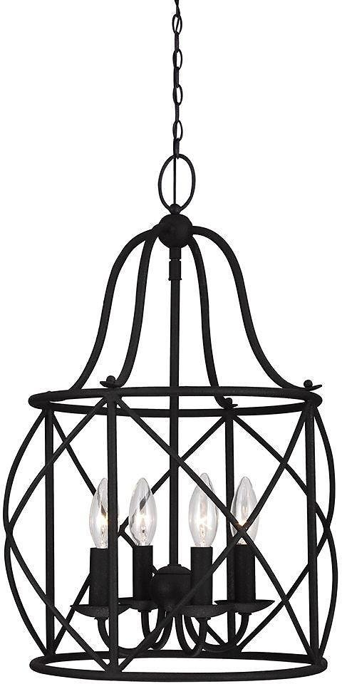 Turbinio 14-Light Textured Black Hall/Foyer Pendant