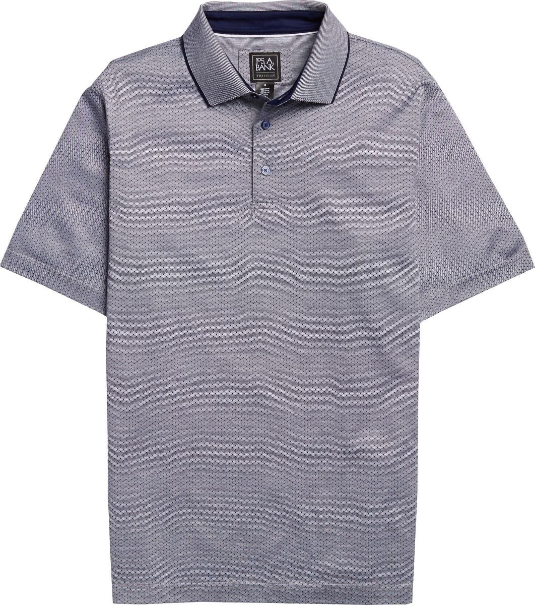 Traveler Collection Traditional Fit Jacquard Dot Short-Sleeve Pique Polo Shirt - Big & Tall CLEARANCE #62JR