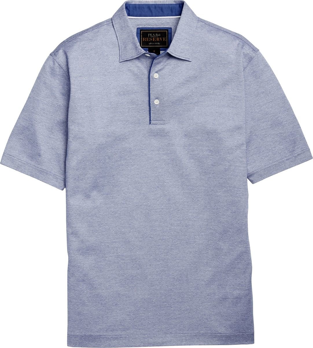 Reserve Collection Traditional Fit Dot Short-Sleeve Interlock Polo Shirt - Big & Tall CLEARANCE #62GU