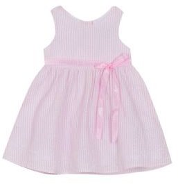 Rare Editions Rare Editions Baby Girls Pink and White Seersucker Dress
