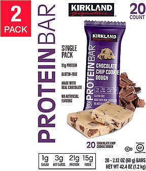 Kirkland Signature Protein Bars, Chocolate Chip Cookie Dough, 20-count, 2-pack