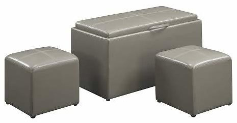 Convenience Concepts Designs4Comfort Sheridan Faux Leather Storage Bench with 2 Side Ottomans Gray