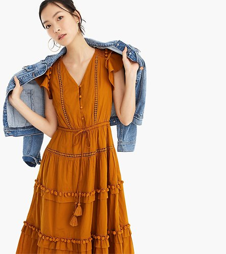 Sale+ Extra 30% Off Point Sur Flutter-sleeve Pom-pom Midi Dress in Cotton Voile