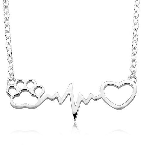 Alphabet Deal | 18kt White Gold HeartBeat Paw Necklace| Price : $7.99