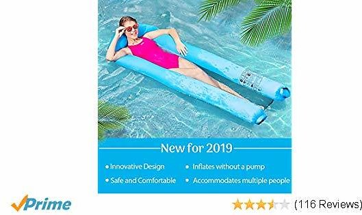 Inflatable Pool Floats Portable Floating Lounger Chair Water Hammock for Adults & Kids 440lb Capacity No Leak Ripstop Fabric Fast Inflated No Pump Needed,with Compact Carry Bag 2019 Upgraded