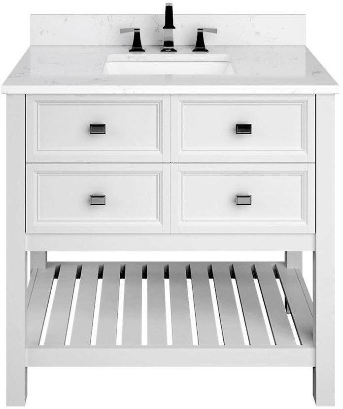 Scott Living Canterbury 36-in White Single Sink Bathroom Vanity with Carrara Engineered Stone Top At Lowes.com