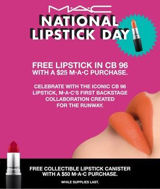 FREE Full Size Lipstick Bullet with $25 MAC Purchase + Lipstick Canister with $50 MAC Purchase!