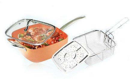 Nonstick Stainless Steel Square Cooking Pan Set (8-Piece)
