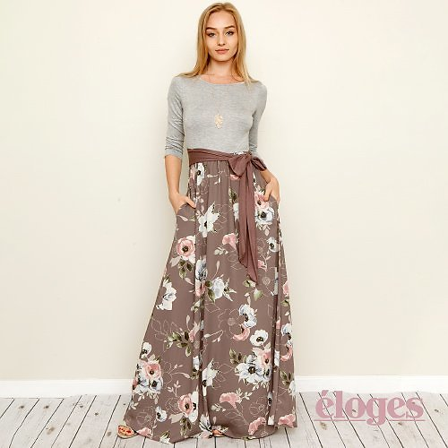 Up to 70% off Egs By éloges: S-3X Mocha Brown Floral Three-Quarter Sleeve Maxi Dress - Women & Plus